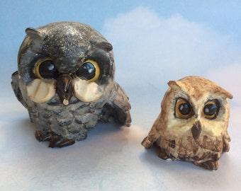 2 Mid Century Handmade Studio Pottery by Kurf Sutton Owl Figurines
