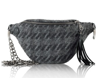 Houndstooth Gray (Silver) - hip bag with chain