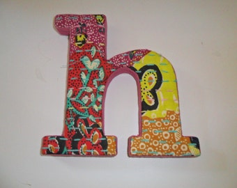 """Handmade Letter """"h"""" with Handsewn Fabric Covering for Wall Hanging"""