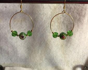 Green flower hoops