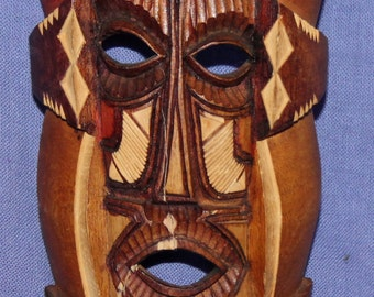 Vintage Hand Carved Wood Mask Wall Plaque