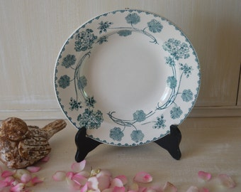 Lovely antique French set of 6 green and cream soup plates bowl sarreguemines pattern geranium