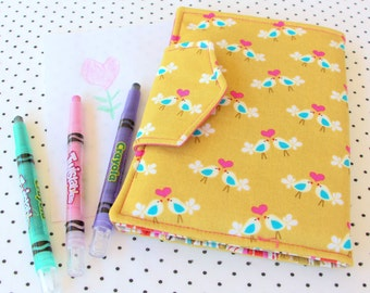 travel drawing wallet / pencil roll / quiet toy/ toddler gift Retro chartreuse pink birds toddler