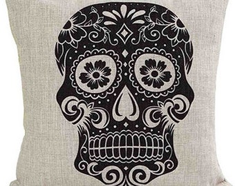Black sugar skull cushion cover, pillow cover