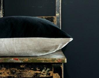 Grey Velvet pillow, charcoal cushion cover, velvet throw pillow, linen velvet decor, gray cushion, dark grey velvet, gray throw