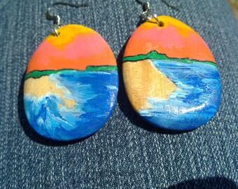 Painted Scene Wood Earrings -- orange sunrise