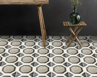 Vinyl Floor Tile Sticker - Floor decals - Carreaux Ciment Encaustic Studio Tile Sticker Pack in Black