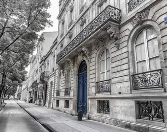 Blue Door Photo, French Street Print, Bordeaux Photography, BW Art for Living Room, Black and White Photograph, France Architecture Picture