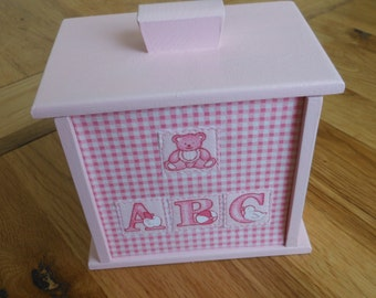 Baby/Keepsake/Nursery/storage/Pink/ ABC/Gift Box