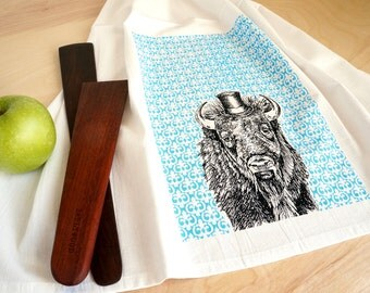 Buffalo Dish Towel, Screen Printed Flour Sack Towel, Tea Towel