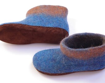 Felted blue boots-alpaca boots-blue slippers-indoor boots-felted slippers-valenki boots-blue orange mixed wool boots-felted slippers