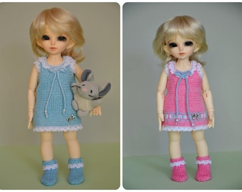 Knitted dress and socks for Yosd, Littlefee, 1/6 Bjd dolls.