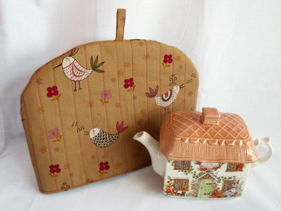 """quilted fabric tea cozy, insulated warmer, bird kitchen decor, cotton fabric cosy, coffee coloured fabric, 12.5"""" wide x 9"""" high"""