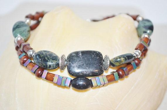 Ankle Bracelet Wood Bead/Semi Precious Stones, 2 Strand Green Jasper Anklet, 1 of a kind Stone Anklet, Iridescent Bead Anklet, Stone Anklet