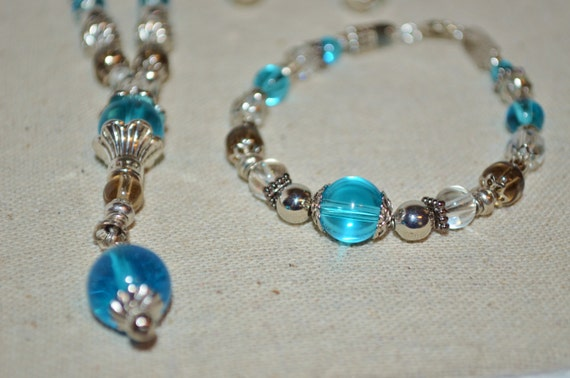 Necklace Bracelet & Earring Set Aqua Blue, Smoke and Clear Glass Beads with Silver Beads and Accents
