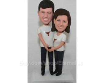 Couple Bobblehead, Mr and Mrs cake topper, Wedding cake topper rustic, Personalized cake topper, Anniversary cake topper statue