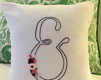 Embroidered Pillow Cover, Ampersand Pillow, Wedding pillow, housewarming gift, personalized pillow, & pillow, shower gift, custom decor, and