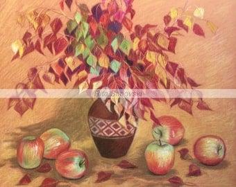 Autumn. Still Life. Apples Pastel High Quality Print Size 22 X 19.8''