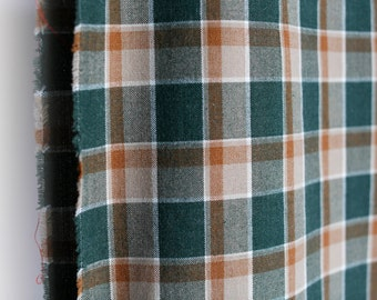Green and brown vintage plaid lightweight wool