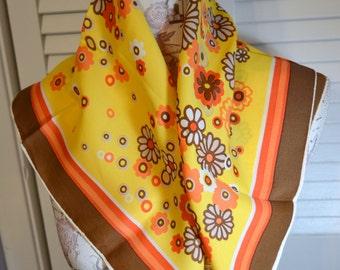 Vintage Retro Scarf Flowered Design Brown Orange Yellow Vintage Scarf Vintage Fashion Retro Fashion Retro Brown Orange Scarf