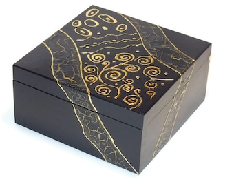 Royal blue  Jewelry box Wooden box Jewelry Storage Wooden keepsake Hand painted  jewelry box