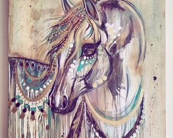 Original acrylic on canvas - Arabian horse stallion painting