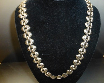 Outstanding Vintage pre-1948  silver link necklace 24''