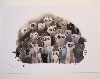 Cat family DIN A4 print 21 x 30 cm plus sticker from my ink illustration