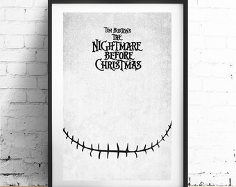 NIGHTMARE BEFORE CHRISTMAS - Original Art, Minimalist Movie Poster Print 13 x 19""