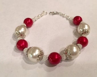 Red and Pearl luster bracelet with silver accents