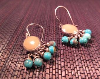Boho Sterling Silver Turquoise Earrings