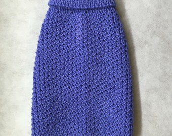 Blue Pure Merino Wool Knitted Dog Sweater - XS to Large Sizes.