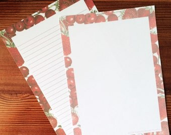 Natural History Inspired Cherry and Strawberry Stationery