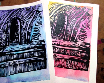 Inside Cave Watercolor Reproduction Print