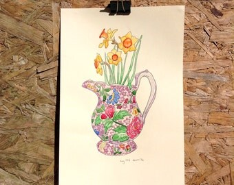 Original watercolour illustration painting of a Vintage Vase of Dafodills A4
