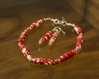 Paper bead Bracelet set  Holiday paper jewelry  Red & white paper beads  Bracelet and earrings  Christmas jewelry  Wrapping paper bracelet