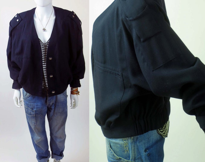 80s mod mock army navy batwing bomber tailored coat jacket