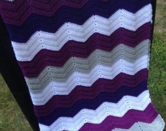 Baby chevron blanket crochet white, gray and purple 33/36 inch