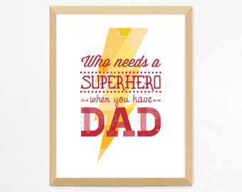 Superhero Dad Wall Print | Father's Day Gift