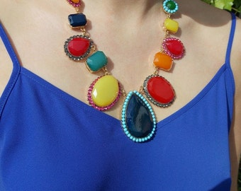 Brightly Coloured Stone Statement Necklace
