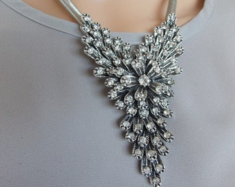 Gunmetal Grey and Crystal Jewelled Statement Necklace and Earrings Set