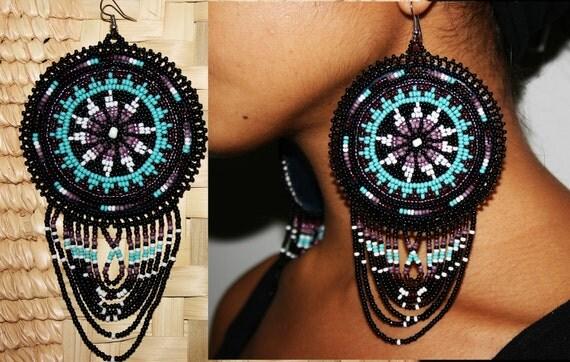 Beaded Morning Star Earrings, Leather Backed Earrings, Huichol Earrings, Native American Style Beaded Earrings, Large Medallion