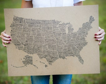 "America in Type - USA Print - Hand-Lettered - Letterpress 18"" x 24"""