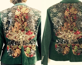 Reworked Embroidered Velvet Jacket / Burlesque  embroidered Velvet Jacket / Handmade Embroidery /Wearable Art/Medium