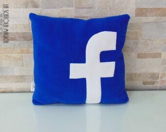 Facebook pillow - Polyester fleece blue app cushion - handmade in Italy