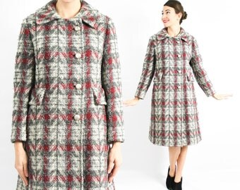 60s Grey Plaid Wool Coat | Grey and Red Plaid Coat | Medium Large