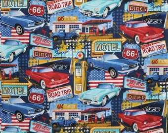CUSTOM MEN'S BOXERS, Made to Order, Route 66, Road Trip, Motel, Gas Station, Diner, Classic Cars, Choose Size