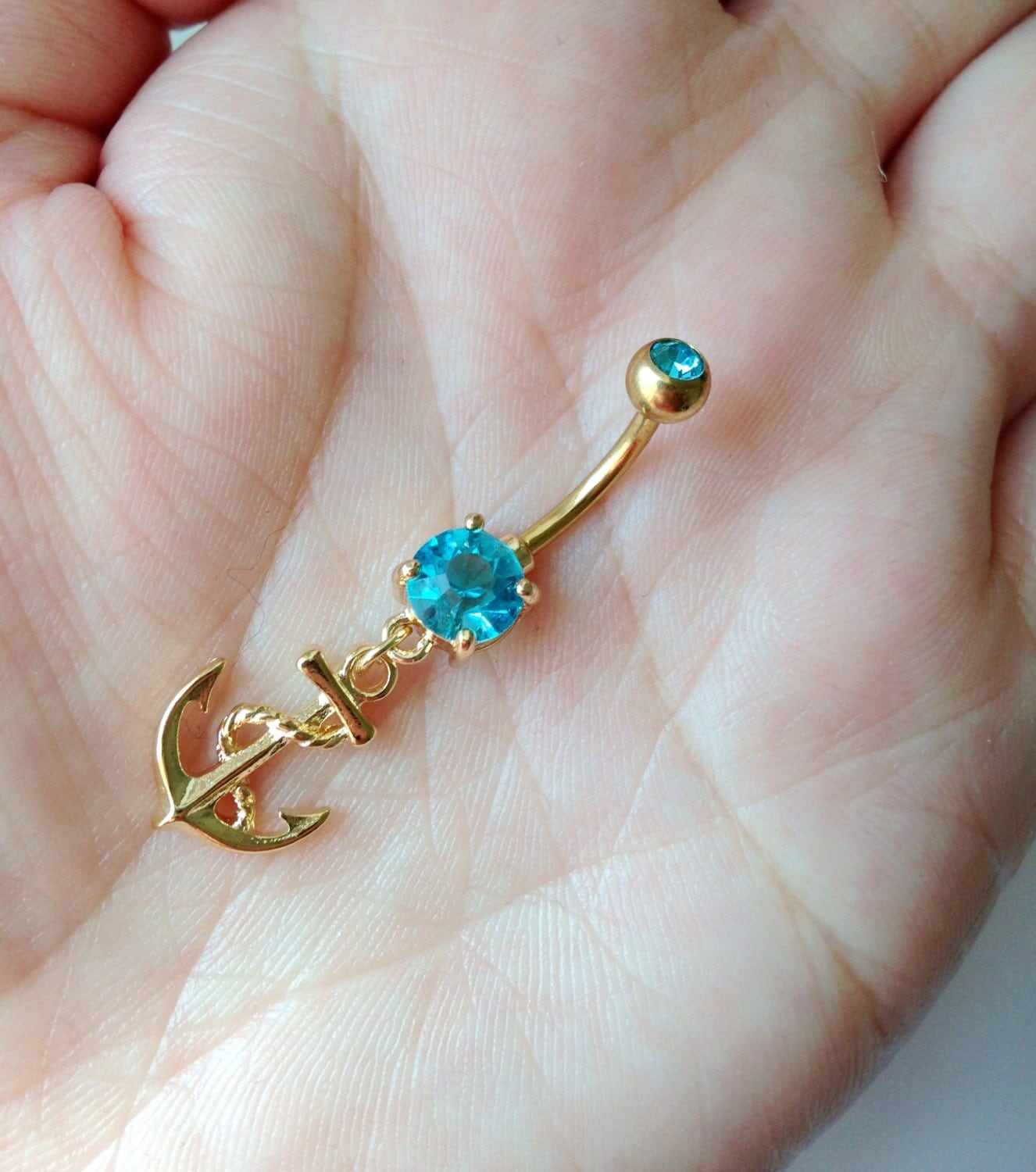 anchor belly button ring gold belly ring