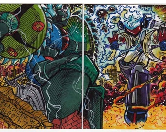 Grendizer vs Golgoth 7 Personal Sketch Card Puzzle Giant Monsters Attack Gift Item Unique Collectible