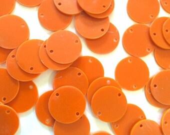 "2 Hole Acrylic Disc - BLANK - 1.25"" Across - 2 Holes for Bangle Making, Necklace or Keychain, Jewelry Making - ORANGE"